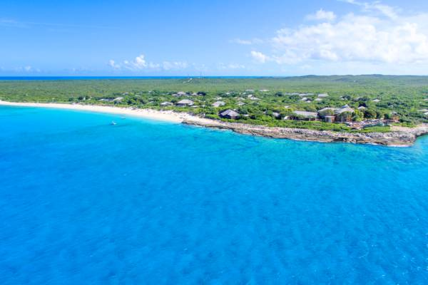 aerial view of Amanyara Resort and Malcolm's Road Beach