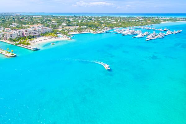 aerial photo of Leeward Going Through Channel and Blue Haven Marina on Providenciales