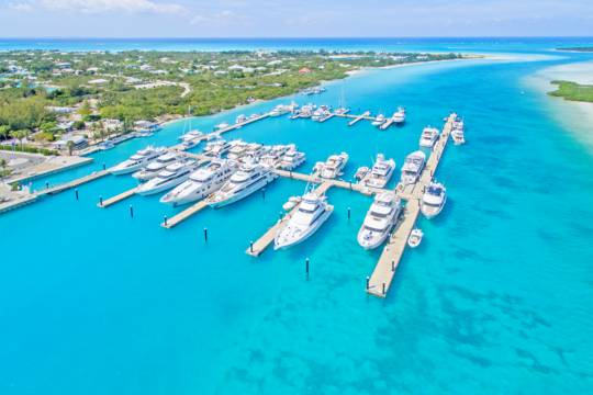 aerial view of the floating docks and yachts at Blue Haven Marina
