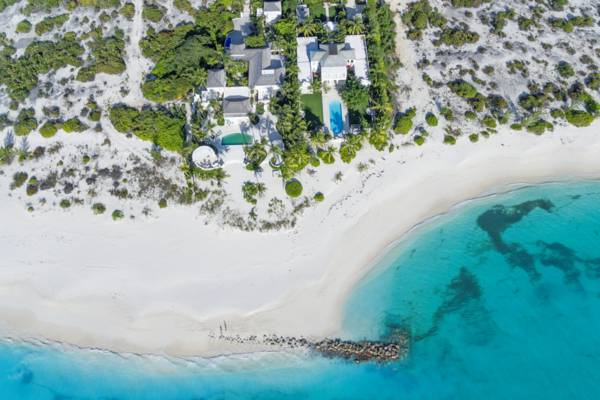 aerial view of the luxury Coral House on Grace Bay.