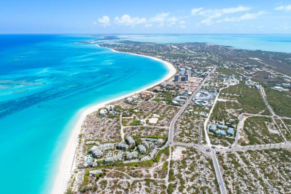 aerial view of the Grace Bay region of Providenciales