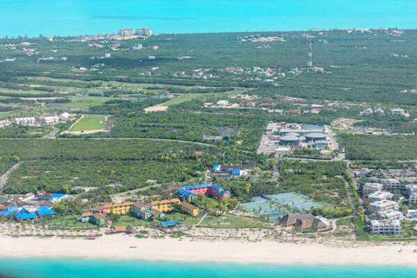 aerial view of Club Med and the Provo Golf Club at Grace Bay, Providenciales