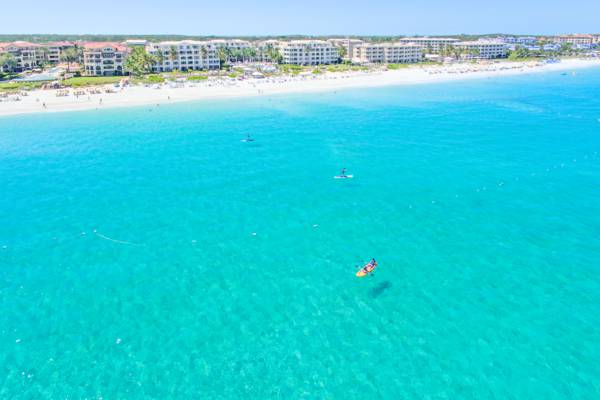 aerial photo of kayaks and stand up paddle boards at Grace Bay