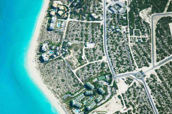 high altitude photo of Grace Bay Beach and Forbes Point