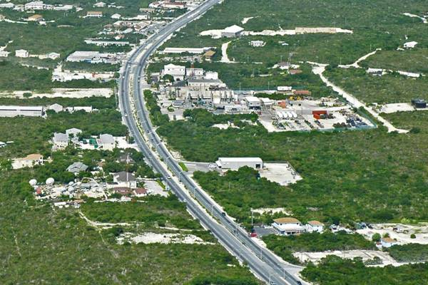 aerial view of Leeward Highway near the power station