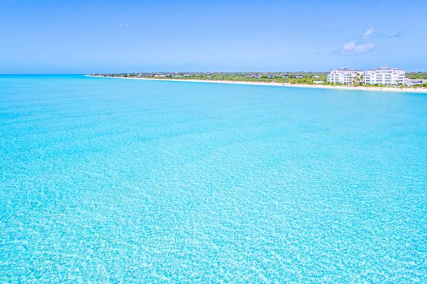 aerial view of Long Bay Beach and the Shore Club resort on Providenciales