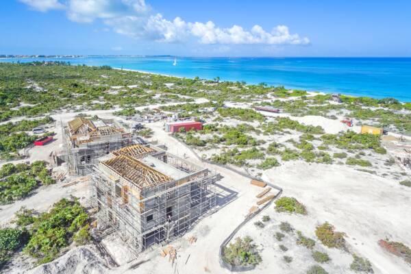 luxury villas under construction at Leeward Beach in the Turks and Caicos