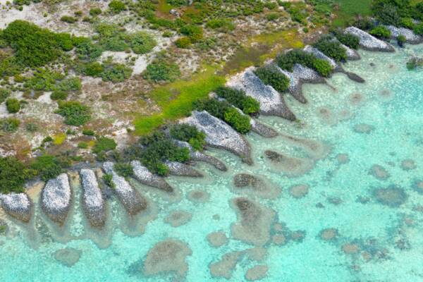 aerial views of discarded conch shell mounds at Middleton Cay in the Turks and Caicos