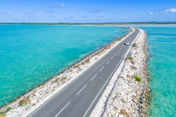 aerial view of the North Caicos and Middle Caicos Road Causeway