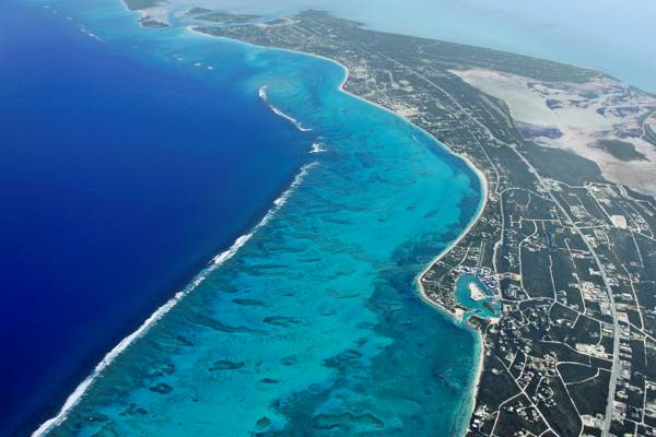 high altitude photo of Grace Bay and Providenciales