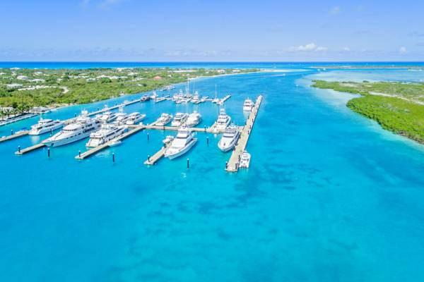 aerial photos of yachts at Blue haven Marina