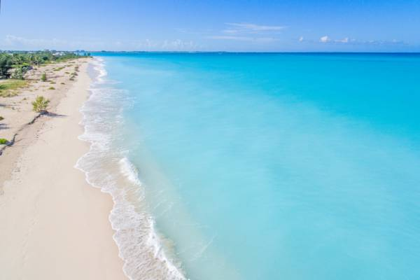 the sand and ocean at Leeward Beach on Providenciales