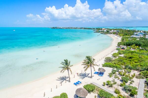 aerial view of Sapodilla Bay Beach in the Turks and Caicos