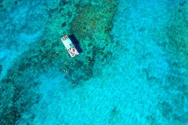 aerial view of snorkeling charter in the Turks and Caicos