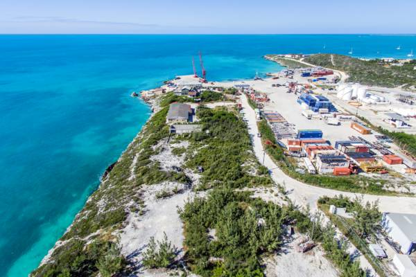 aerial photo of the South Dock cargo port on Providenciales