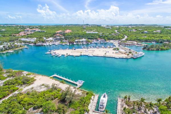 aerial photo of Turtle Cove Marina and pond on Providenciales