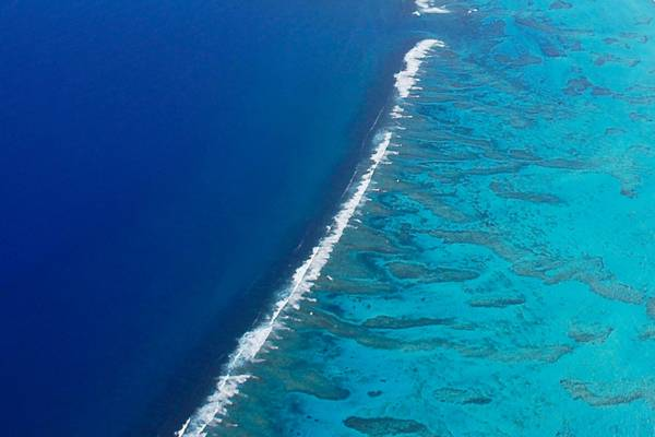 aerial view of spur and grove barrier reef off of Providenciales