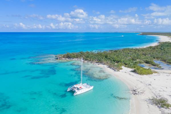 aerial view of Little Water Cay and Half Moon Bay on the North Caicos ferry route