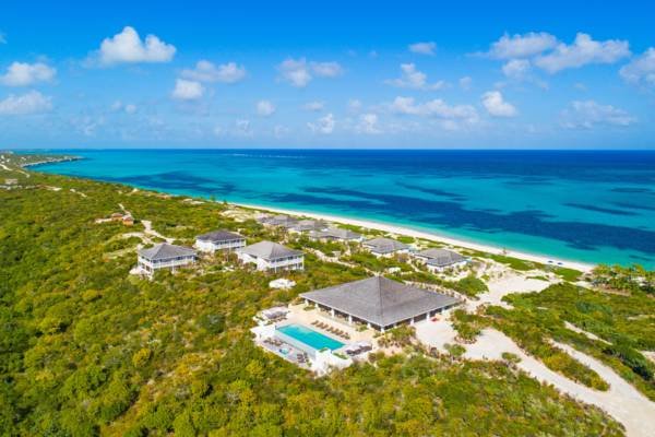 aerial photo of the Sailrock Resort and villas on South Caicos
