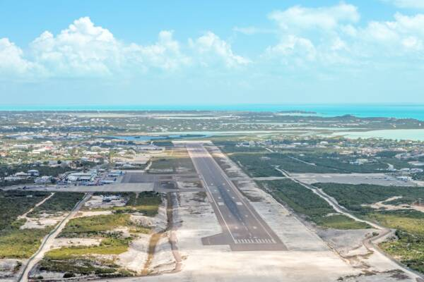 aerial view of the Providenciales International Airport