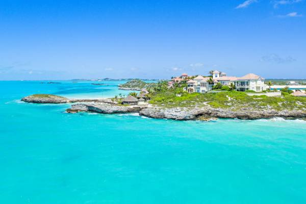 aerial view of Villa Mani at Turtle Tail on Providenciales