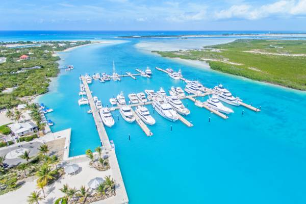aerial photo of Blue Haven Marina in Leeward Channel and Mangrove Cay