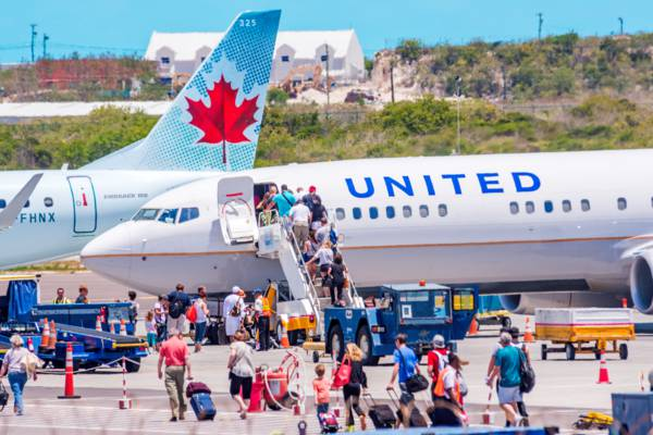 crowds at the PLS Providenciales International Airport
