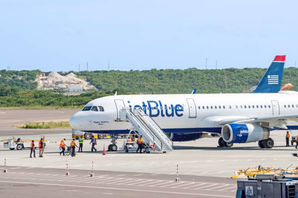 Jet Blue airplane on the tarmac at Providenciales