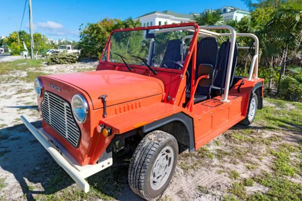 red rental Mini Moke in Grace Bay