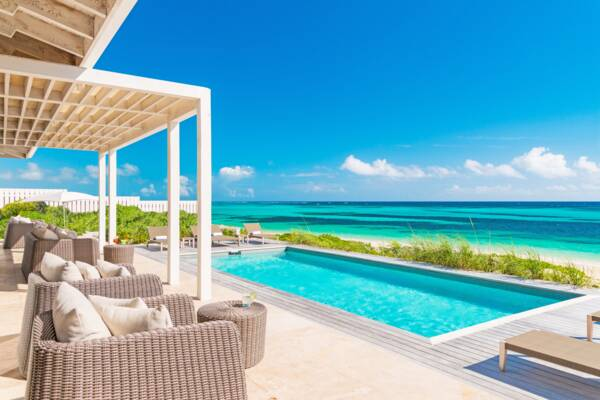 pool with ocean view at a luxury villa at Sailrock Resort on South Caicos