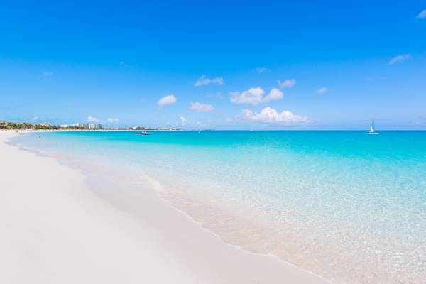 calm ocean and white sand at Grace Bay Beach
