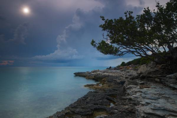 sunset at the coastline fronting Birch's Lookout on Providenciales