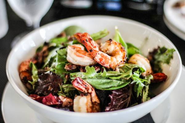 shrimp salad at Fairways Restaurant in Grace Bay