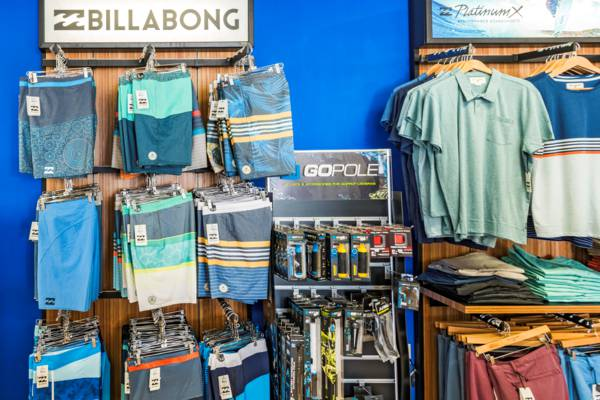 board shorts and GoPro camera accessories at Blue Surf Shop
