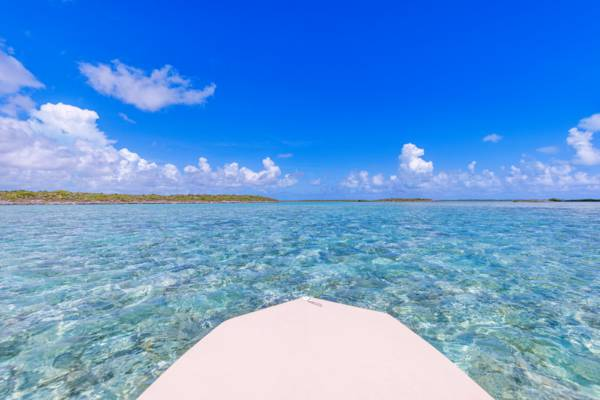 boat charter in clear water near Middle Caicos in the Turks and Caicos.
