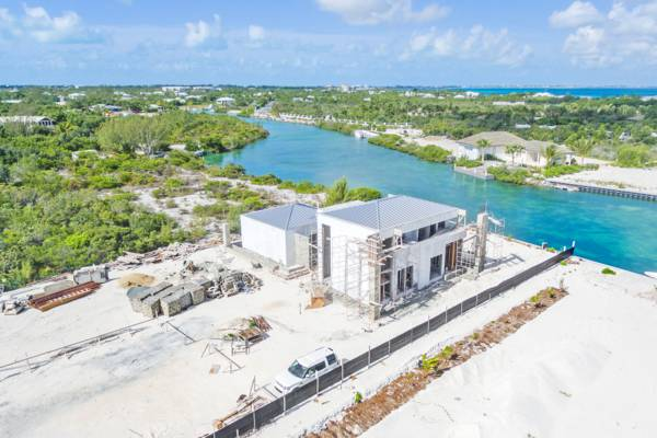 luxury home under construction at Leeward on Providenciales