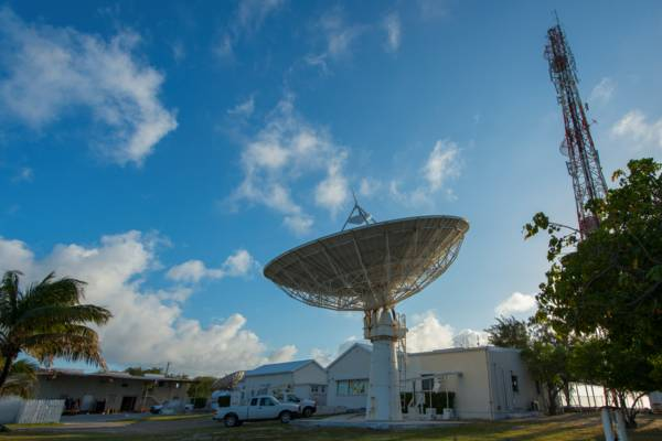 Intelsat satellite dish and cell tower at Cockburn Town on Grand Turk