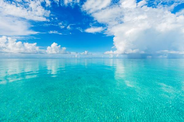 very calm water in the shallow Caicos Banks off of Middle Caicos