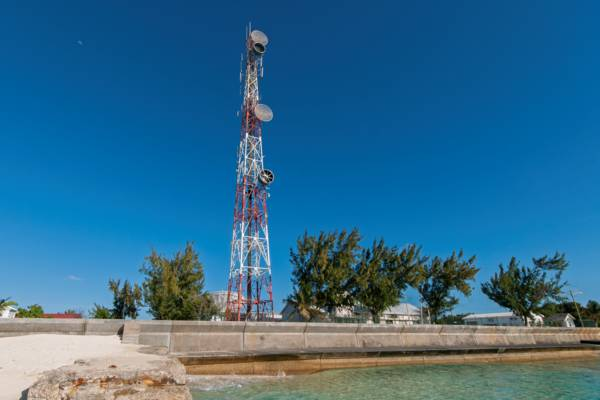 the oceanfront and cell tower at Cockburn Town on Grand Turk