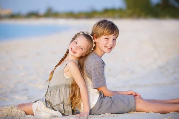 family portraits on Grace Bay Beach