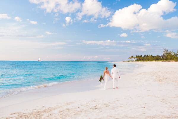 wedding couple on Grace Bay Beach in the Turks and Caicos