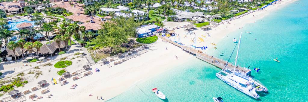 aerial view of the Beaches Turks and Caicos resort.