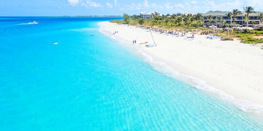aerial view of Grace Bay Beach at the Sands Resort