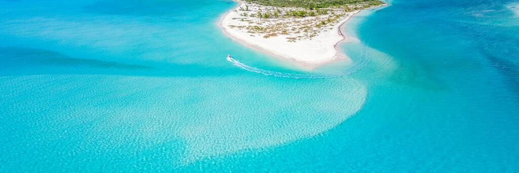aerial view of Fort George Cay in the Turks and Caicos