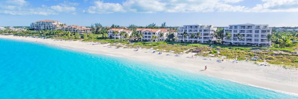 beautiful beach and resorts on Grace Bay