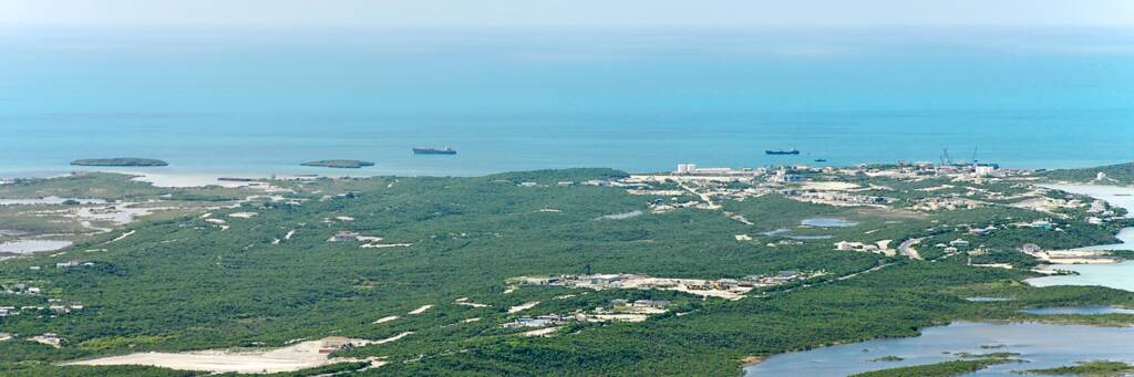 aerial photo of the South Dock industrial region of Providenciales