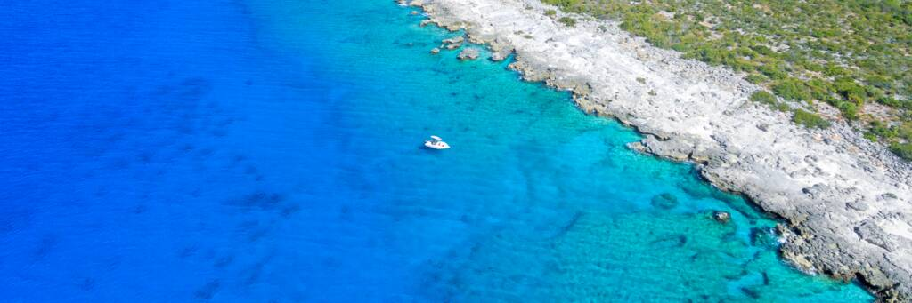 aerial view of boat at the West Caicos Marine National Park