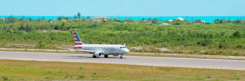American Eagle 175 at the PLS Providenciales International Airport in the Turks and Caicos