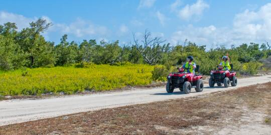 ATVs on a tour in North Creek on Grand Turk