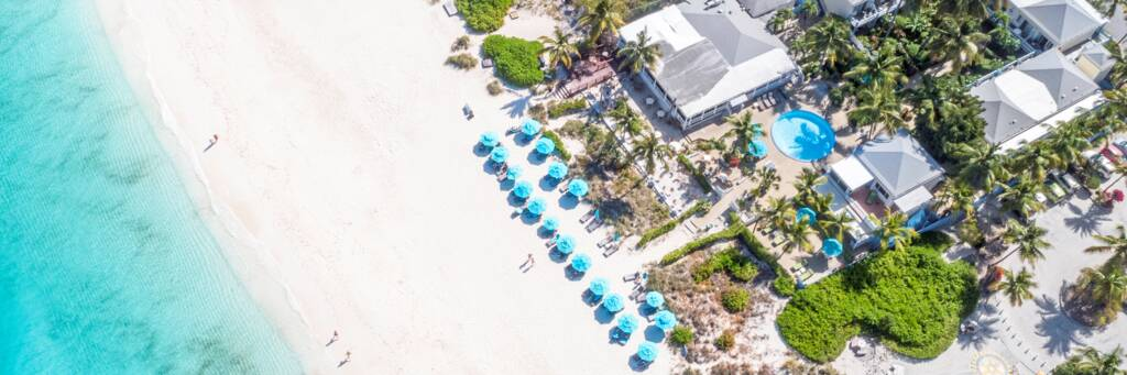 aerial view of Bay Bistro restaurant and Grace Bay Beach